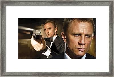 Daniel Craig - James Bond Artwork Framed Print by Sheraz A