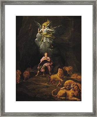 Daniel In The Den Of Lions Oil On Canvas Framed Print by Francois Verdier