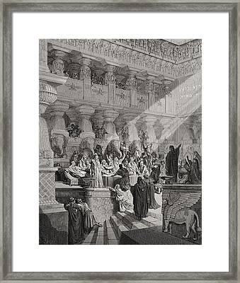 Daniel Interpreting The Writing On The Wall Framed Print by Gustave Dore