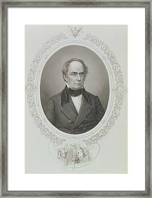 Daniel Webster, From The History Of The United States, Vol. II, By Charles Mackay, Engraved By T Framed Print by Mathew Brady