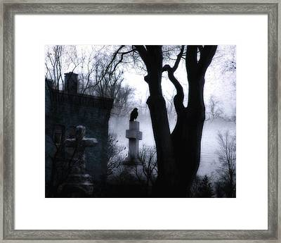 Dark And Eerie Graveyard Framed Print by Gothicolors Donna Snyder