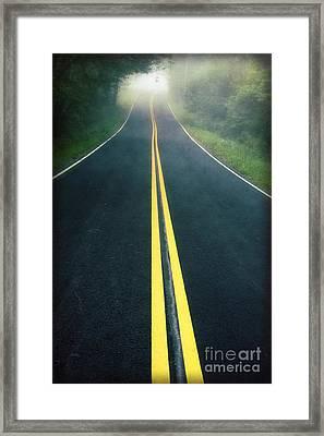 Dark Foggy Country Road Framed Print by Edward Fielding