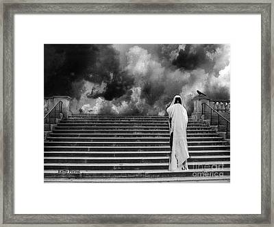 Dark Gothic Black White Infrared Grim Reaper On Paris Steps With Black Raven And Storm Cloud Framed Print by Kathy Fornal