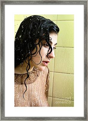 Dark Haired Woman Fully Clothed Getting Wet In The Shower Framed Print by Joe Fox
