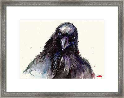 Dark Raven Head Detail - Crow Head Framed Print by Tiberiu Soos