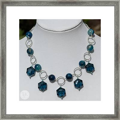 Dark Turquoise Crystal And Faceted Agate Necklace 3676 Framed Print by Teresa Mucha