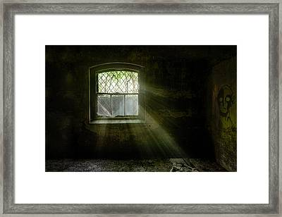 Darkness Revealed - Basement Room Of An Abandoned Asylum Framed Print by Gary Heller