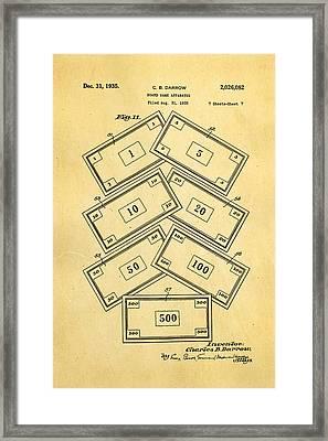 Darrow Monopoly Board Game 2 Patent Art 1935 Framed Print by Ian Monk