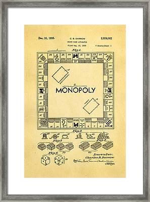 Darrow Monopoly Board Game Patent Art 1935 Framed Print by Ian Monk