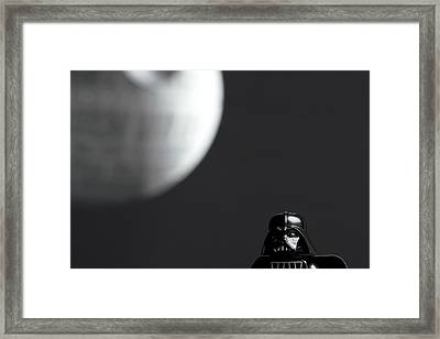 Darth And His Death Star Framed Print by Samuel Whitton
