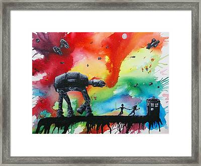 Darth Who Framed Print by Robert Copithorne