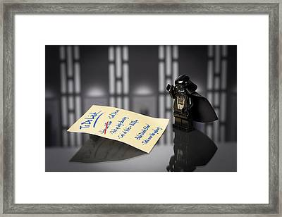 Darth's To Do List Framed Print by Samuel Whitton
