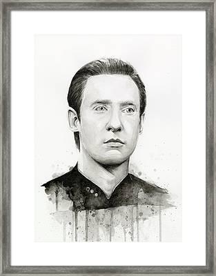 Data Portrait Star Trek Fan Art Watercolor Framed Print by Olga Shvartsur