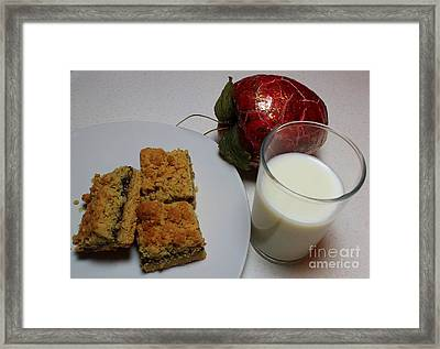 Date Squares - Snack - Dessert - Milk Framed Print by Barbara Griffin