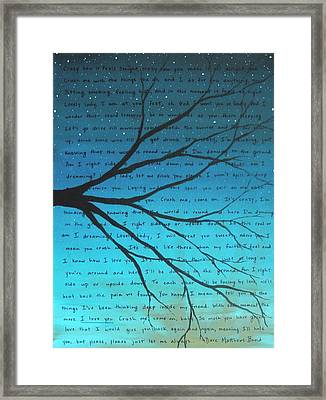 Dave Matthews Band Crush Lyric Art - Blue Framed Print by Michelle Eshleman