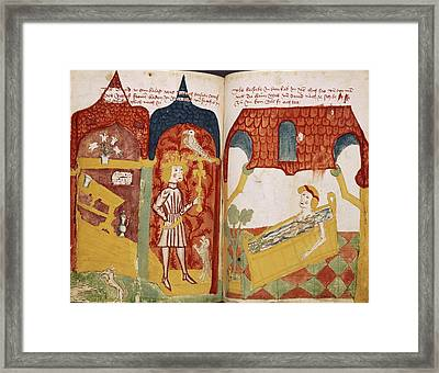 David And Bathsheba Framed Print by Renaissance And Medieval Manuscripts Collection/new York Public Library