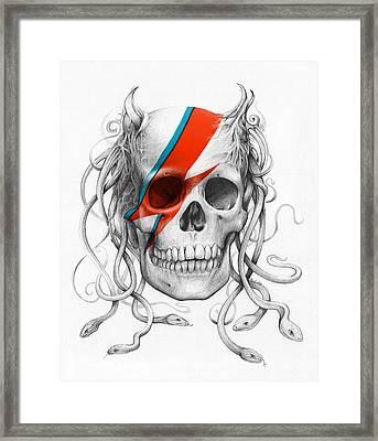 David Bowie Aladdin Sane Medusa Skull Framed Print by Olga Shvartsur