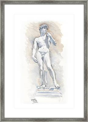 David Sculpture By Michelangelo Framed Print by Maddy Swan