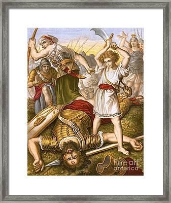 David Slaying Goliath Framed Print by English School