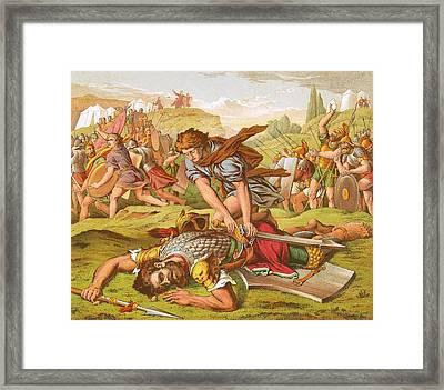 David Slaying The Giant Goliath Framed Print by English School