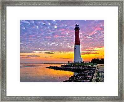 Dawn At Barnegat Lighthouse Framed Print by Mark Miller
