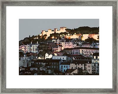 Dawn At St. George Castle Lisbon Framed Print by Linda  Parker