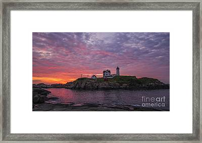 Dawn At The Nubble Framed Print by Steven Ralser