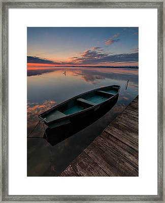 Dawn On Lake Framed Print by Davorin Mance