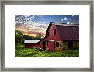 Dawn On The Dairy Farm Framed Print by Debra and Dave Vanderlaan