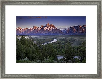 Dawn Over The Tetons Framed Print by Andrew Soundarajan