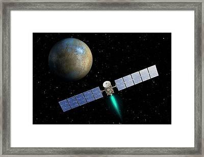 Dawn Spacecraft At Ceres Framed Print by Nasa/jpl-caltech