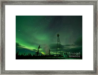 Dawson City Fire Lookout Tower With Northern Lights Framed Print by Priska Wettstein