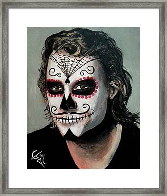 Day Of The Dead - Heath Ledger Framed Print by Tom Carlton