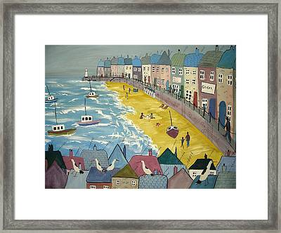 Day On The Beach Framed Print by Trudy Kepke