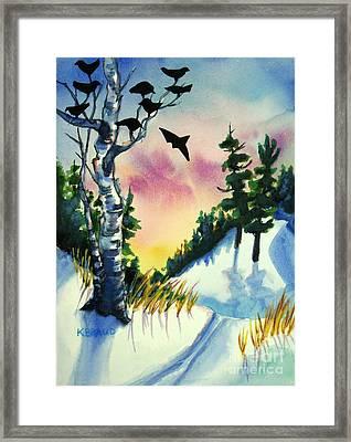 Daybreak Ski              Framed Print by Kathy Braud