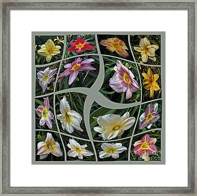 Daylily's Flying Away Collage Framed Print by ImagesAsArt Photos And Graphics