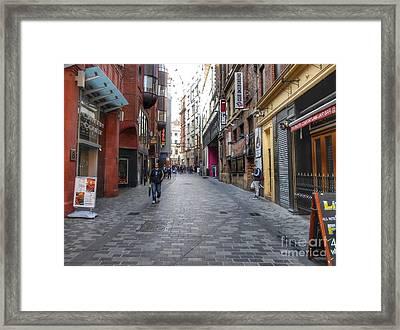 Daytime On Mathew Street Framed Print by Joan-Violet Stretch