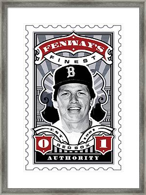 Dcla Carlton Fisk Fenway's Finest Stamp Art Framed Print by David Cook Los Angeles
