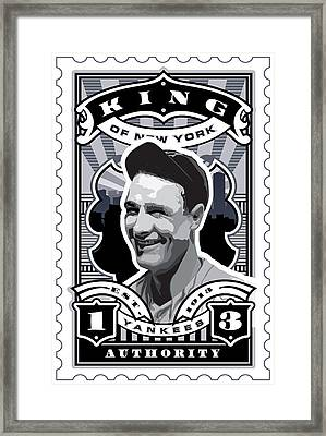 Dcla Lou Gehrig Kings Of New York Stamp Artwork Framed Print by David Cook Los Angeles