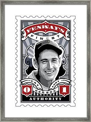 Dcla Ted Williams Fenway's Finest Stamp Art Framed Print by David Cook Los Angeles