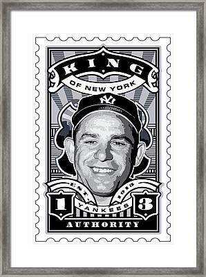 Dcla Yogi Berra Kings Of New York Stamp Artwork Framed Print by David Cook Los Angeles