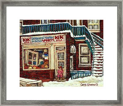 De Bullion Street Depanneur Kik Cola Montreal Streetscenes Framed Print by Carole Spandau