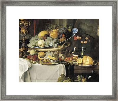 De Heem, Jan Davidsz 1606-1684. Fruits Framed Print by Everett