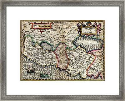 de LIsles map of the Holy Land Framed Print by MotionAge Designs