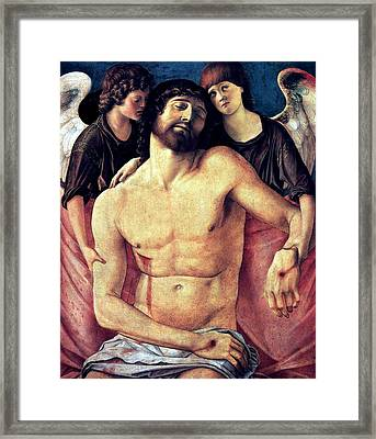 Dead Christ Supported By Angels 1485 Giovanni Bellini Framed Print by Karon Melillo DeVega