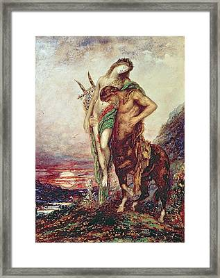 Dead Poet Borne By Centaur Framed Print by Gustave Moreau