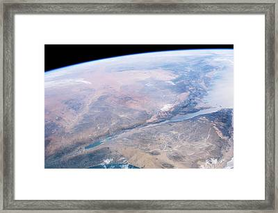Dead Sea Salt Pans Framed Print by Nasa