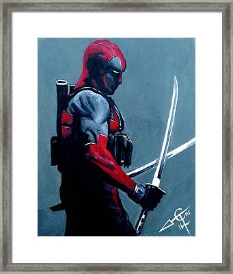 Deadpool Framed Print by Tom Carlton