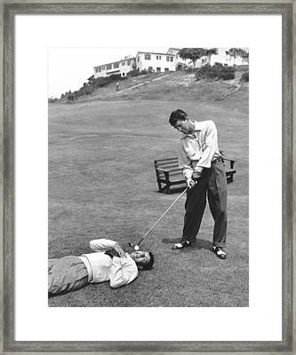 Dean Martin & Jerry Lewis Golf Framed Print by Underwood Archives