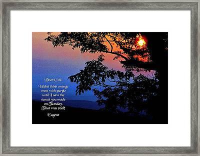 Dear God Framed Print by Mike Flynn